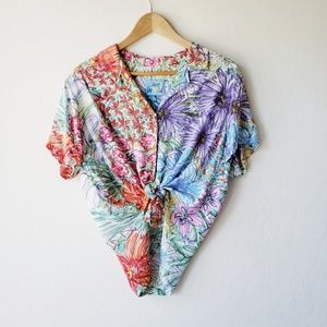 Vintage Hawaiian Print Button Down Shirt